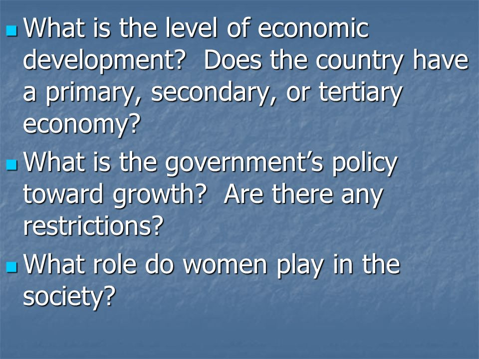 What is the level of economic development