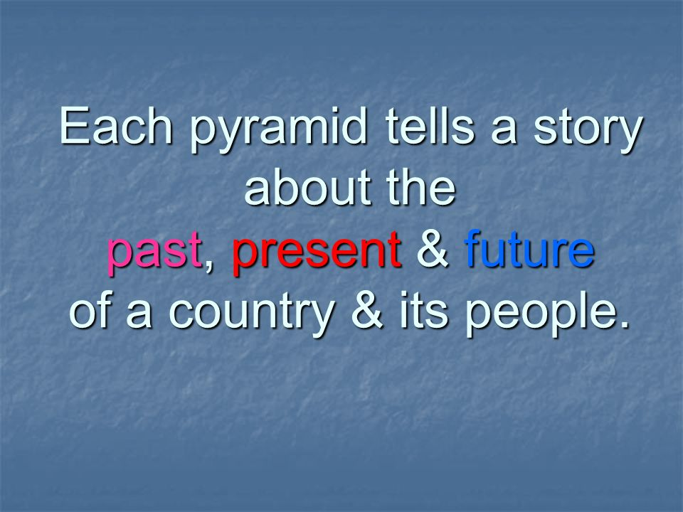 Each pyramid tells a story about the past, present & future of a country & its people.