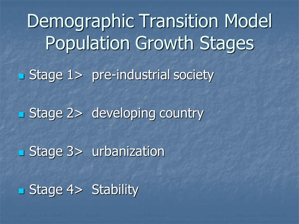 Demographic Transition Model Population Growth Stages