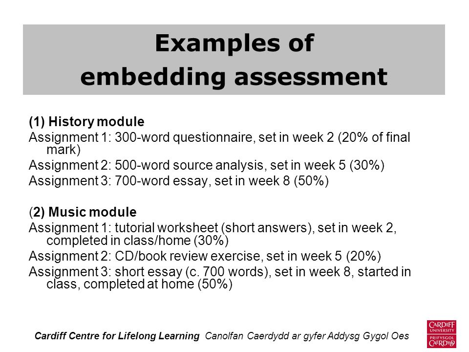 Examples of embedding assessment