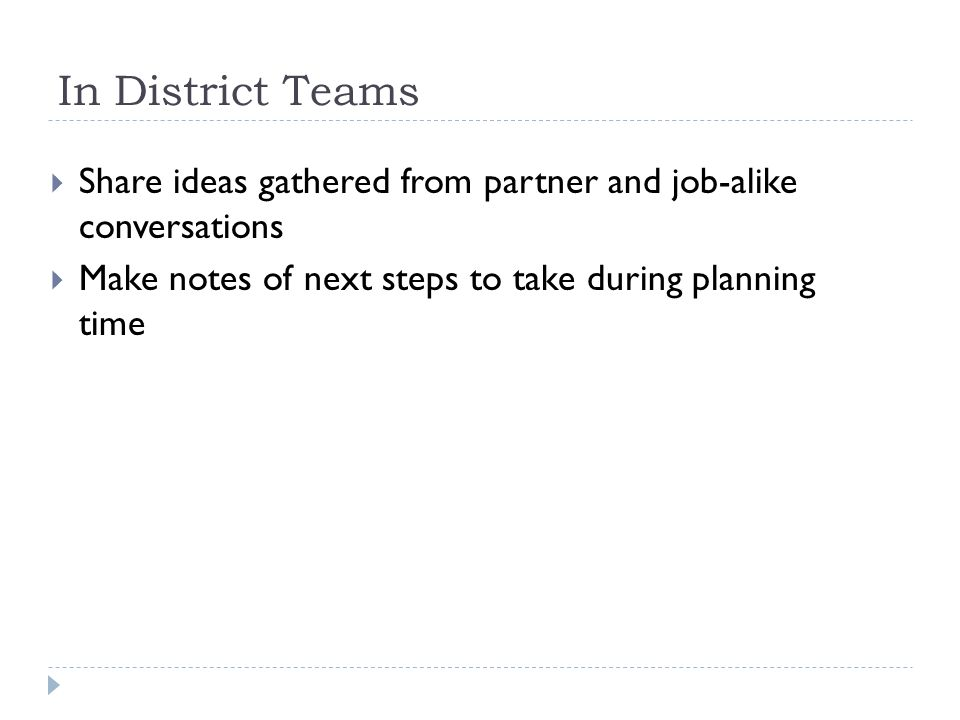 In District Teams Share ideas gathered from partner and job-alike conversations.