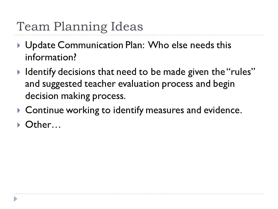 Team Planning Ideas Update Communication Plan: Who else needs this information