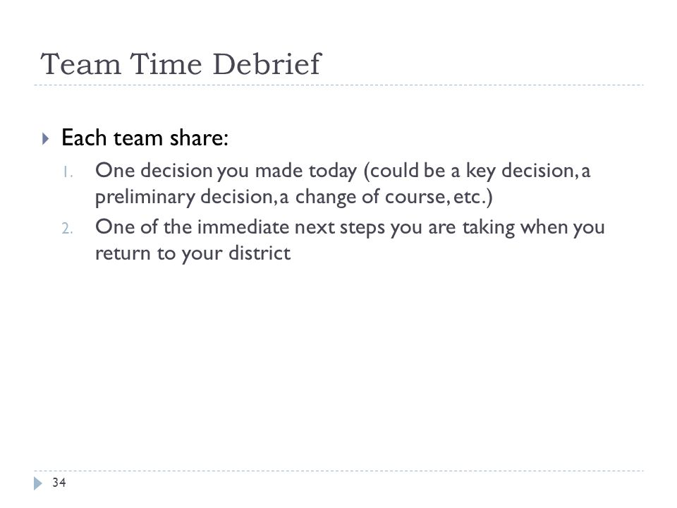 Team Time Debrief Each team share: