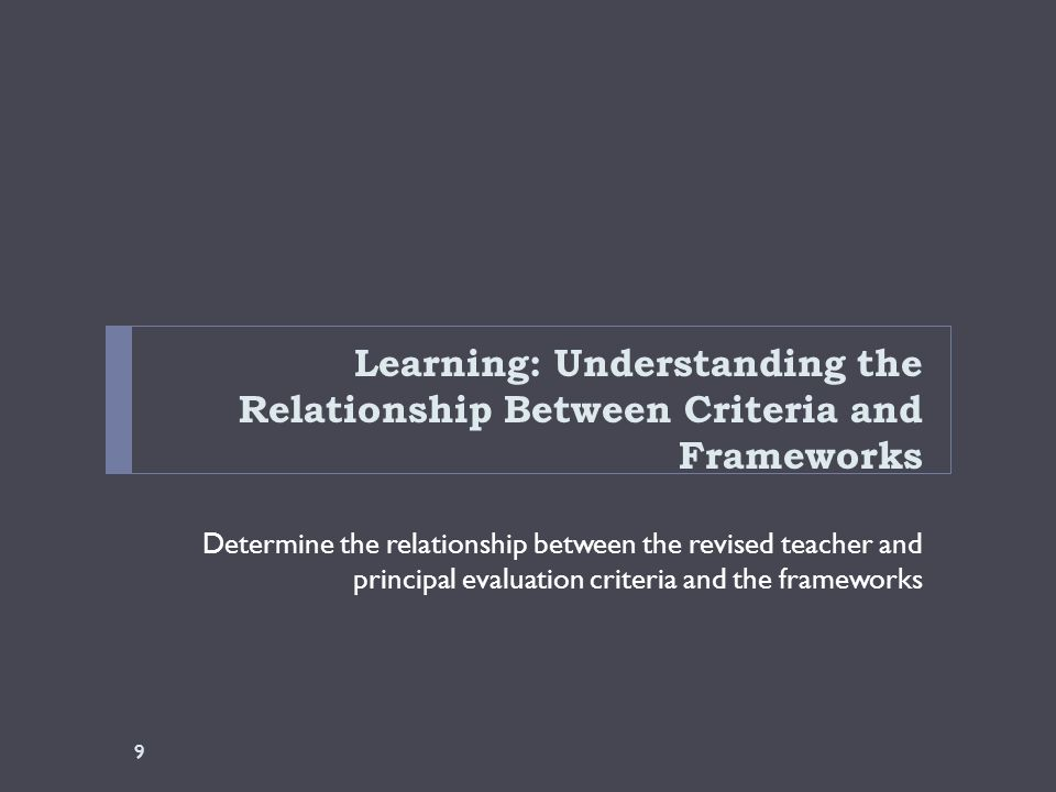 Learning: Understanding the Relationship Between Criteria and Frameworks