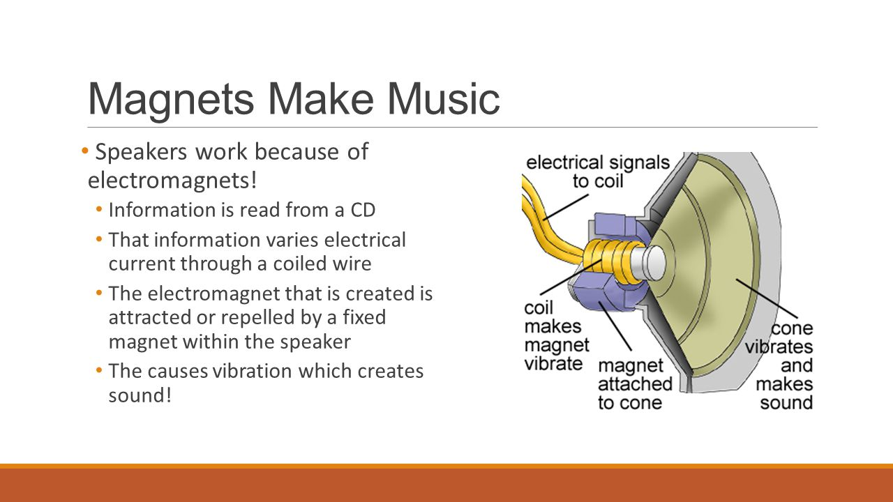 Magnets Make Music Speakers work because of electromagnets!