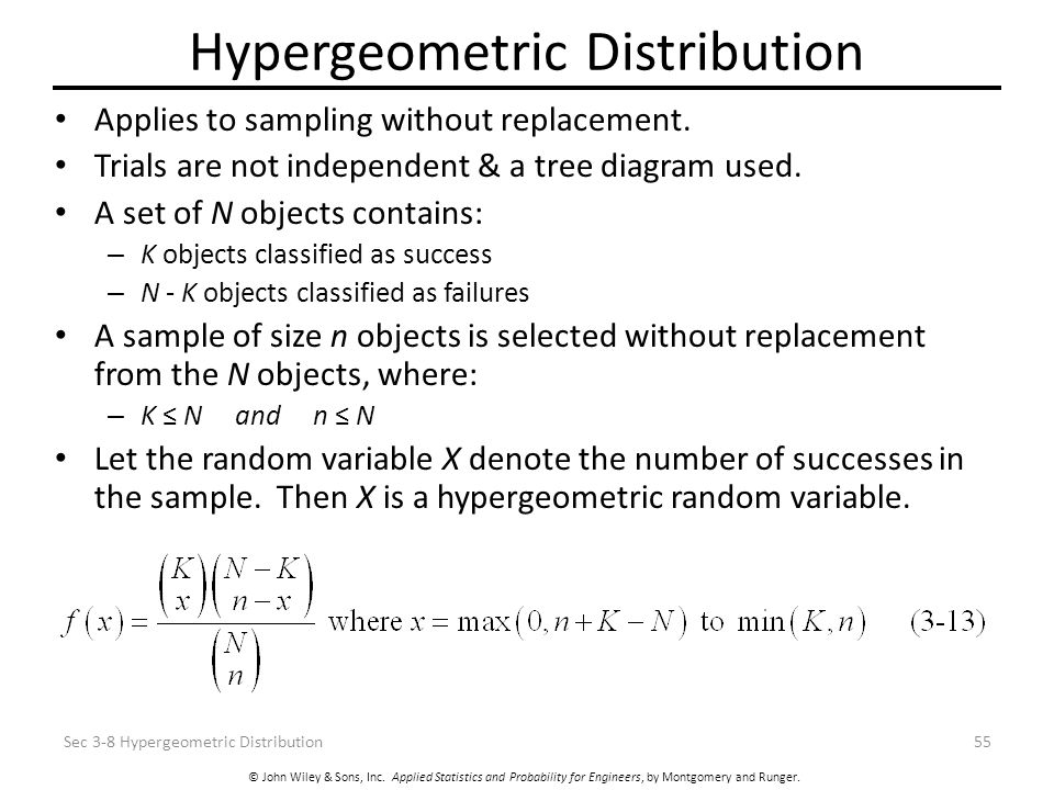 Discrete random variable and probability distribution ppt video 55 hypergeometric distribution applies to sampling without replacement ccuart Gallery