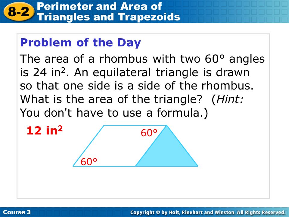 problem solving 8-2 perimeter and area of triangles and trapezoids