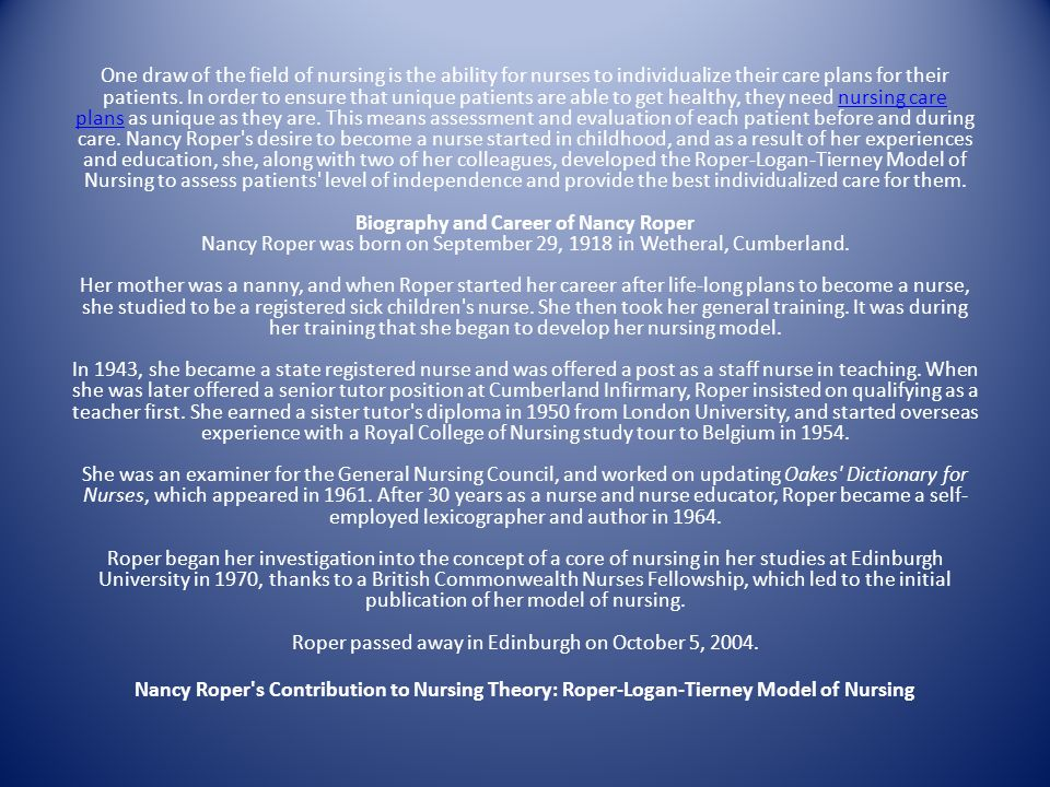nancy roper activities of daily living