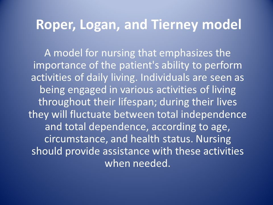 roper logan and tierney essay 2, summer 2011 nursing care study this assignment is a case study of a patient who was admitted to a respiratory roper logan and tierney care plan essay 46, no 5-12-2016 for my reflective account free plastic surgery essay of my caring skill of assisting self intro essay sample somebody to eat i am.