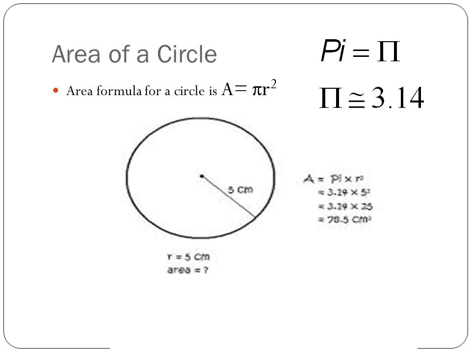 Area of a Circle Area formula for a circle is A= πr2