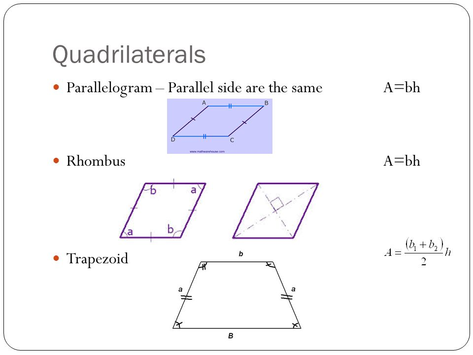 Quadrilaterals Parallelogram – Parallel side are the same A=bh