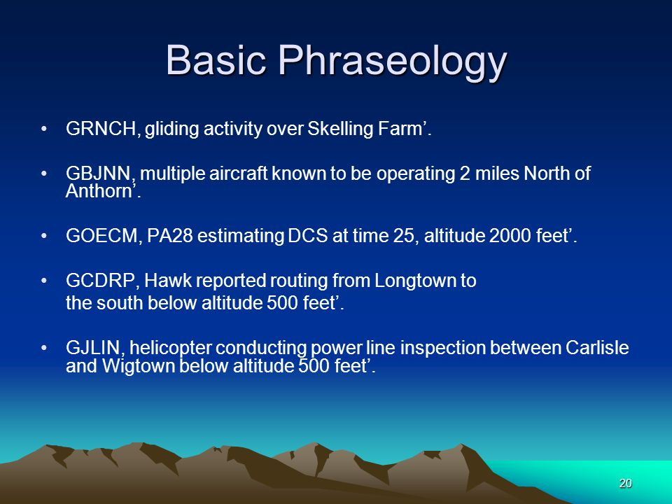 Basic Phraseology GRNCH, gliding activity over Skelling Farm'.