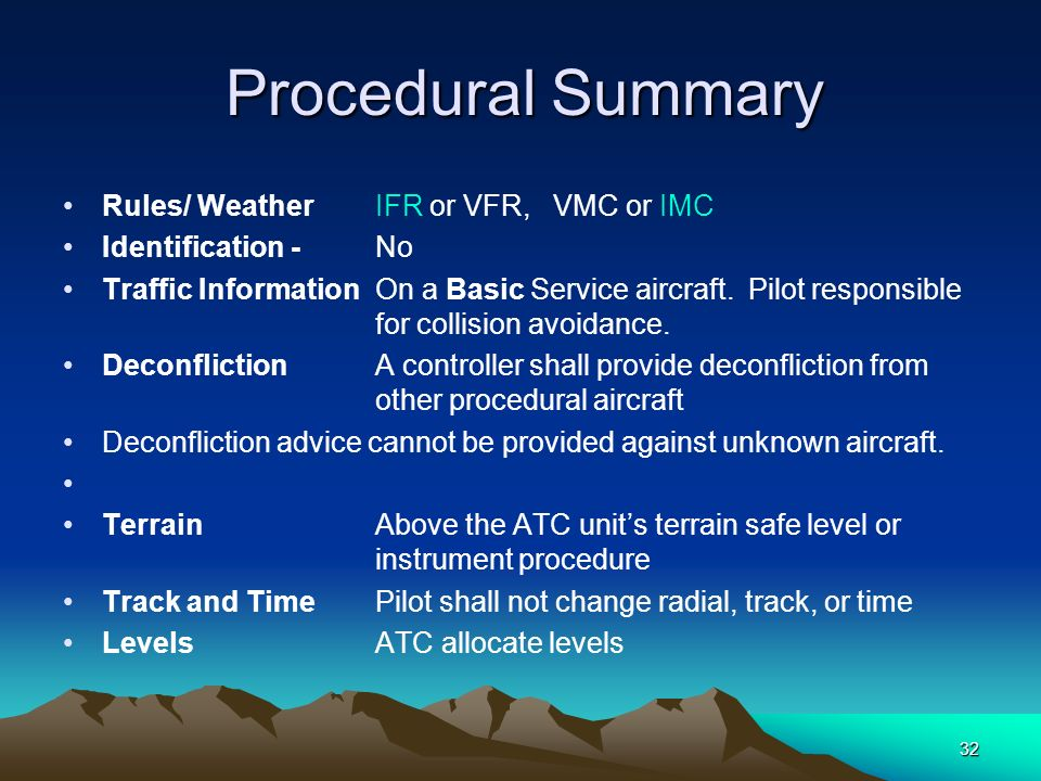 Procedural Summary Rules/ Weather IFR or VFR, VMC or IMC. Identification - No.