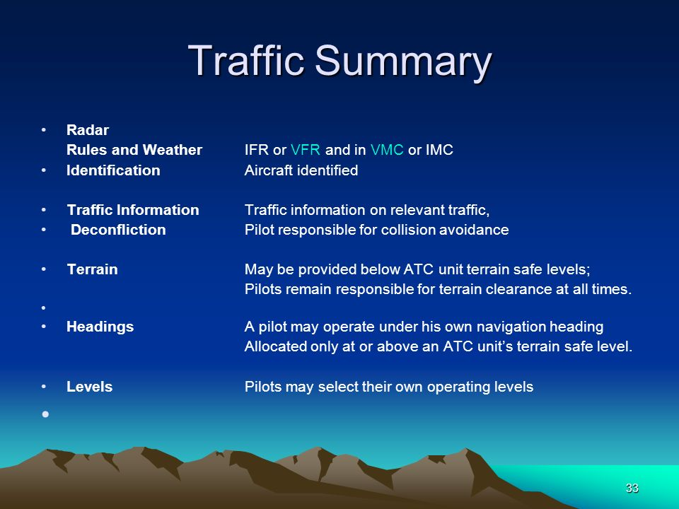 Traffic Summary Radar Rules and Weather IFR or VFR and in VMC or IMC