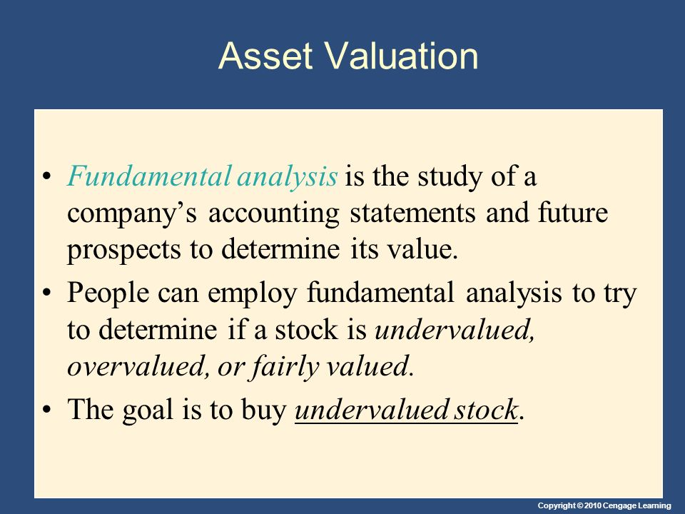 Asset Valuation Fundamental analysis is the study of a company's accounting statements and future prospects to determine its value.