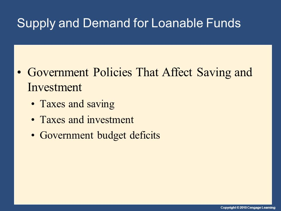 Supply and Demand for Loanable Funds