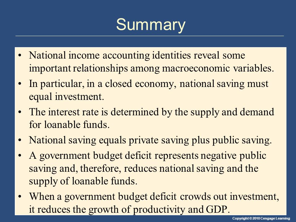 Summary National income accounting identities reveal some important relationships among macroeconomic variables.