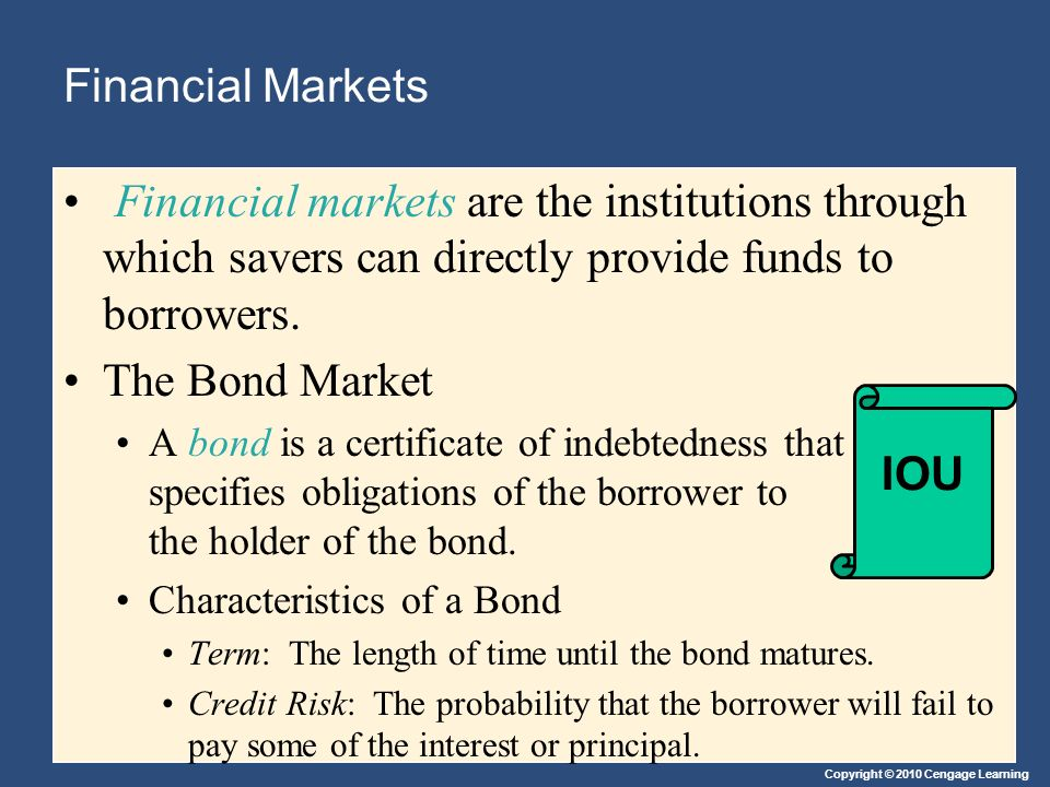 Financial Markets Financial markets are the institutions through which savers can directly provide funds to borrowers.