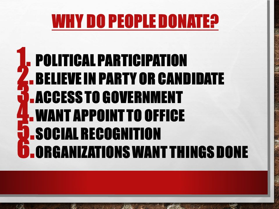 Why do people donate Political participation