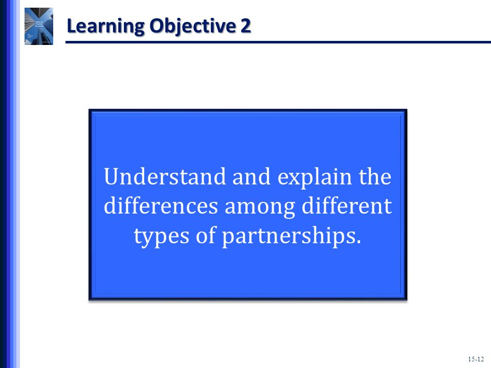 Learning Objective 2 Understand and explain the differences among different types of partnerships.