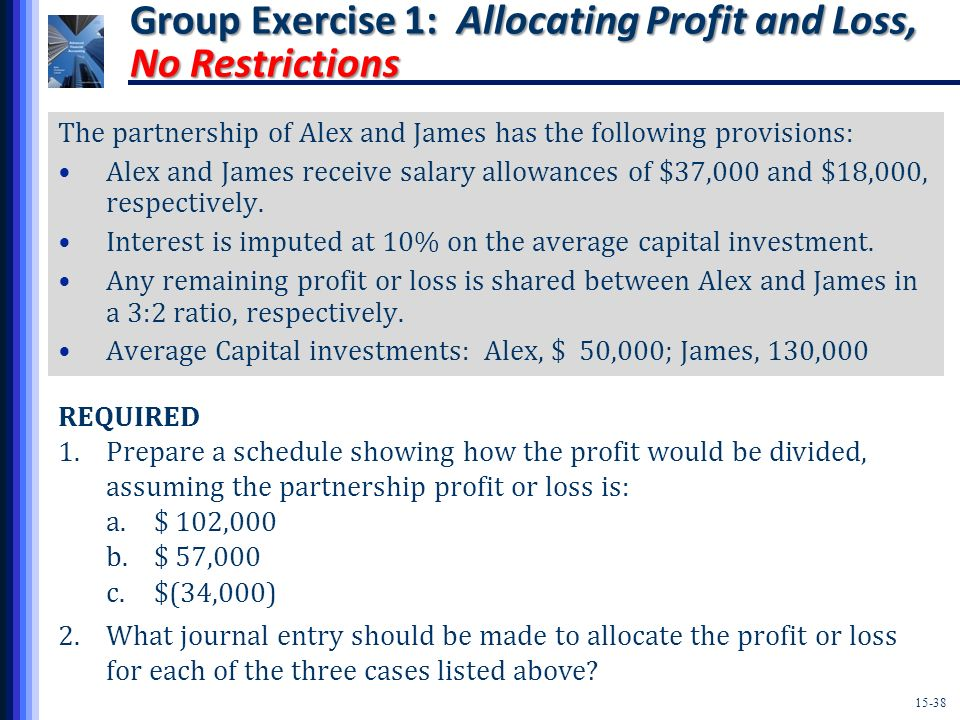 Group Exercise 1: Allocating Profit and Loss, No Restrictions
