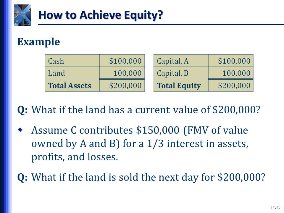 How to Achieve Equity Example