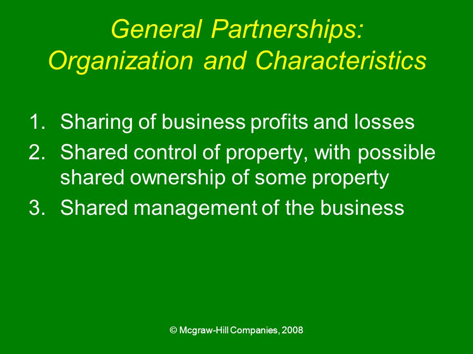 General Partnerships: Organization and Characteristics