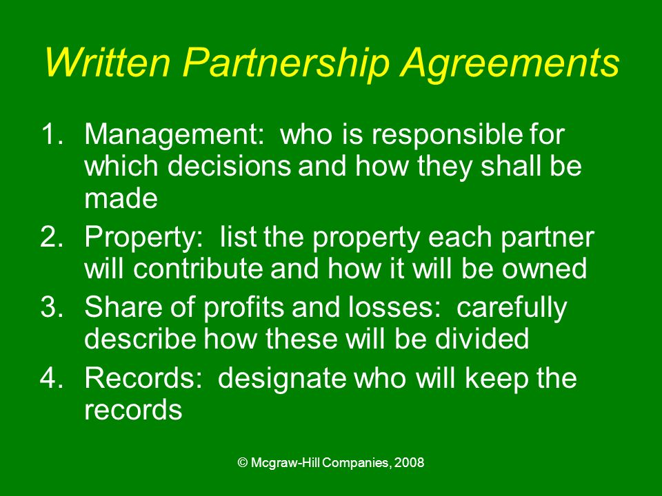 Written Partnership Agreements