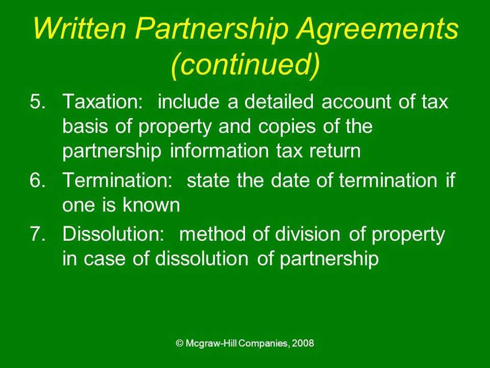 Written Partnership Agreements (continued)