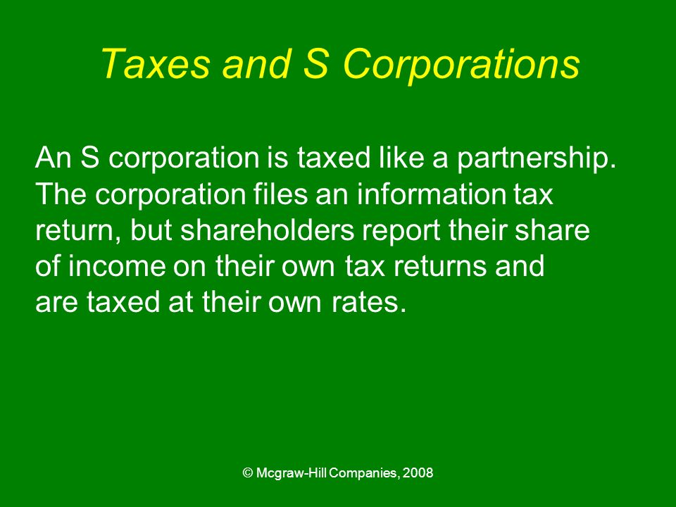 Taxes and S Corporations