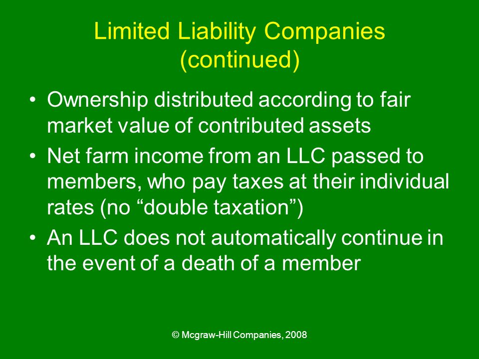 Limited Liability Companies (continued)