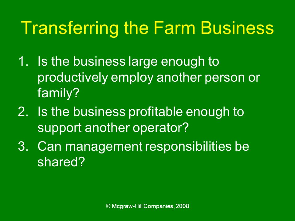 Transferring the Farm Business