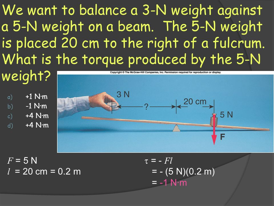 We want to balance a 3-N weight against a 5-N weight on a beam