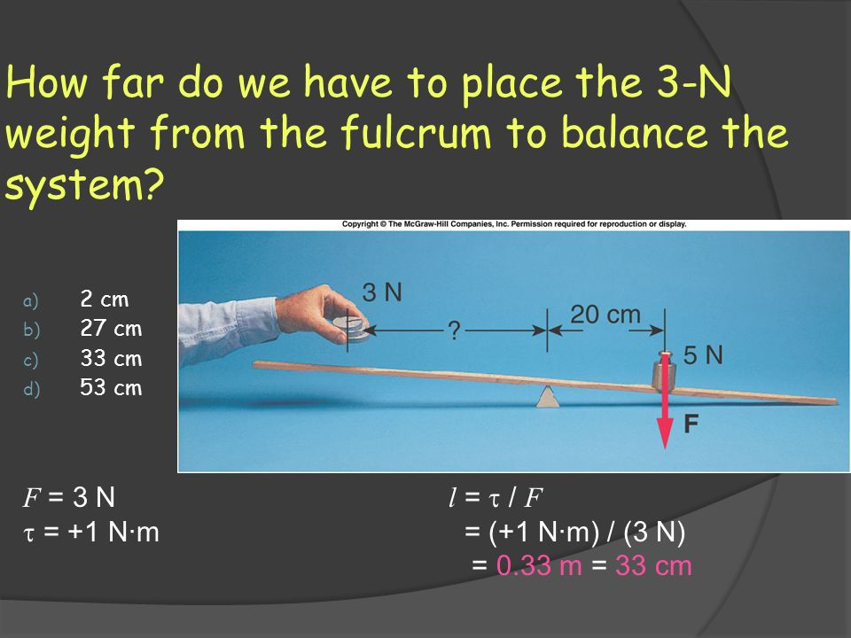 How far do we have to place the 3-N weight from the fulcrum to balance the system