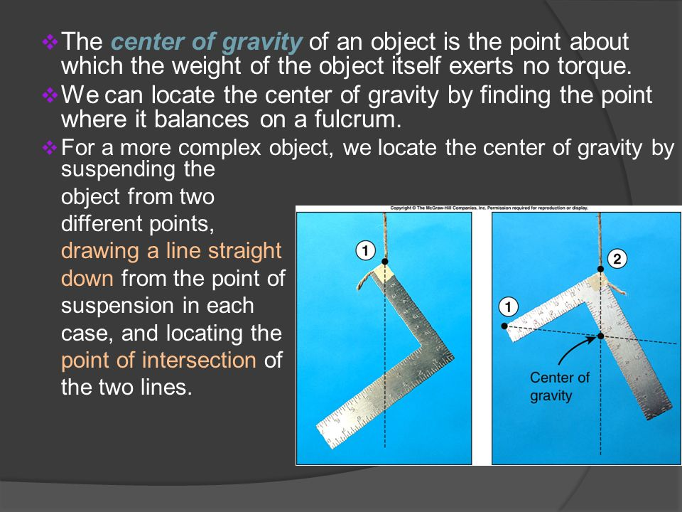 The center of gravity of an object is the point about which the weight of the object itself exerts no torque.
