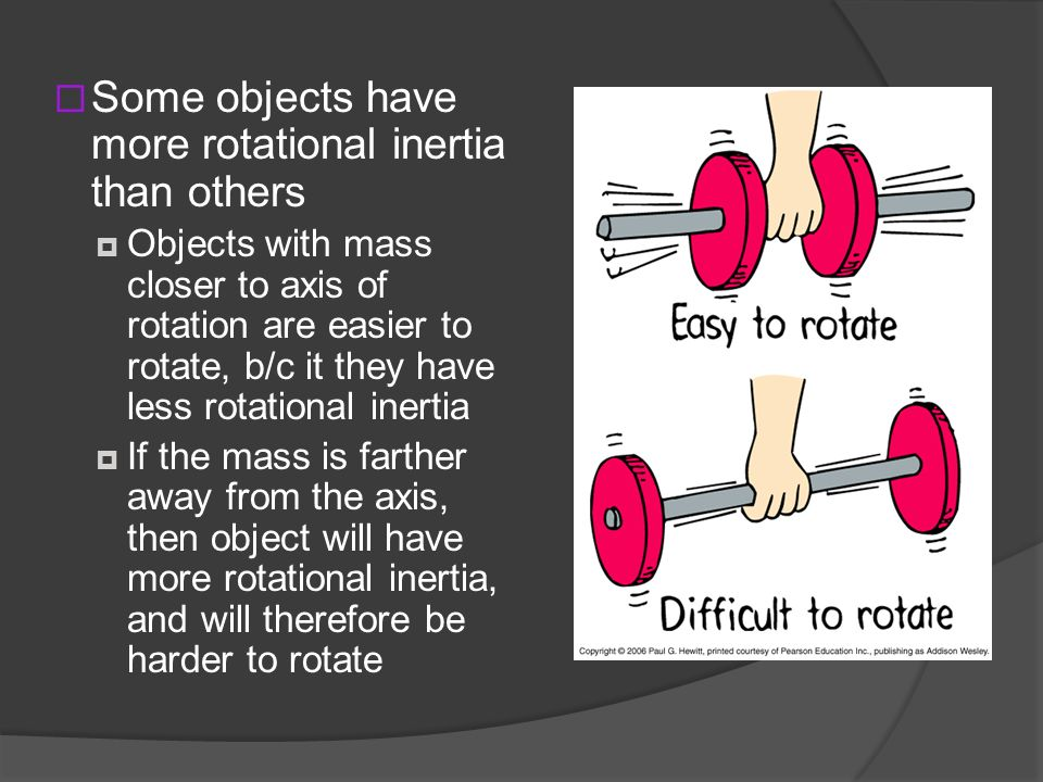 Some objects have more rotational inertia than others