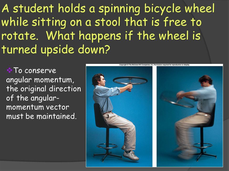 A student holds a spinning bicycle wheel while sitting on a stool that is free to rotate. What happens if the wheel is turned upside down