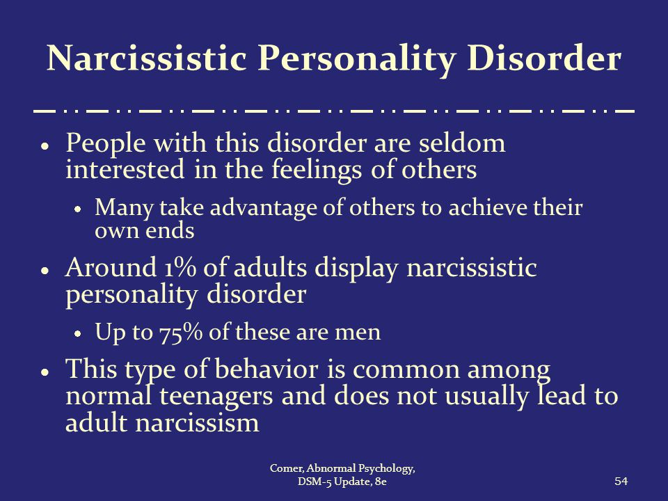 narcissistic personality disorder traits and behavior in men