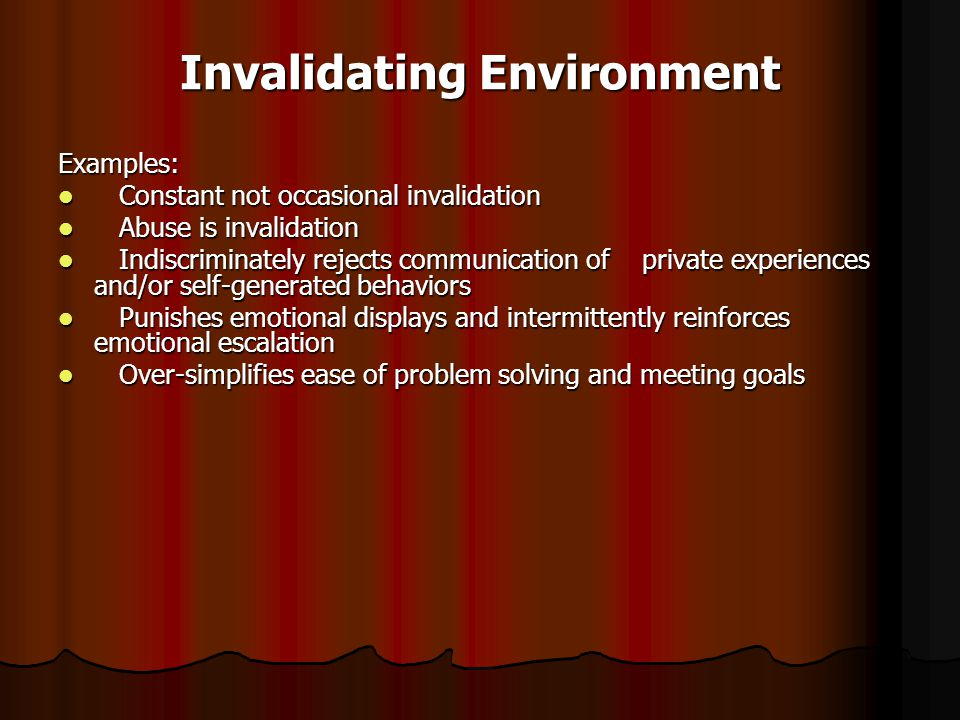 Invalidating environment definition
