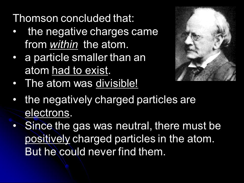 Thomson concluded that: