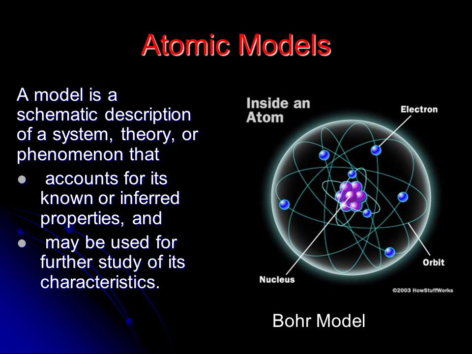 Atomic Models A model is a schematic description of a system, theory, or phenomenon that. accounts for its known or inferred properties, and.
