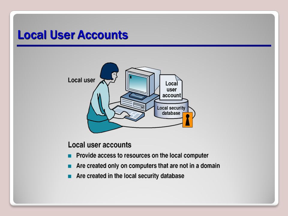 Local User Accounts Explain the properties of a Local User Account.