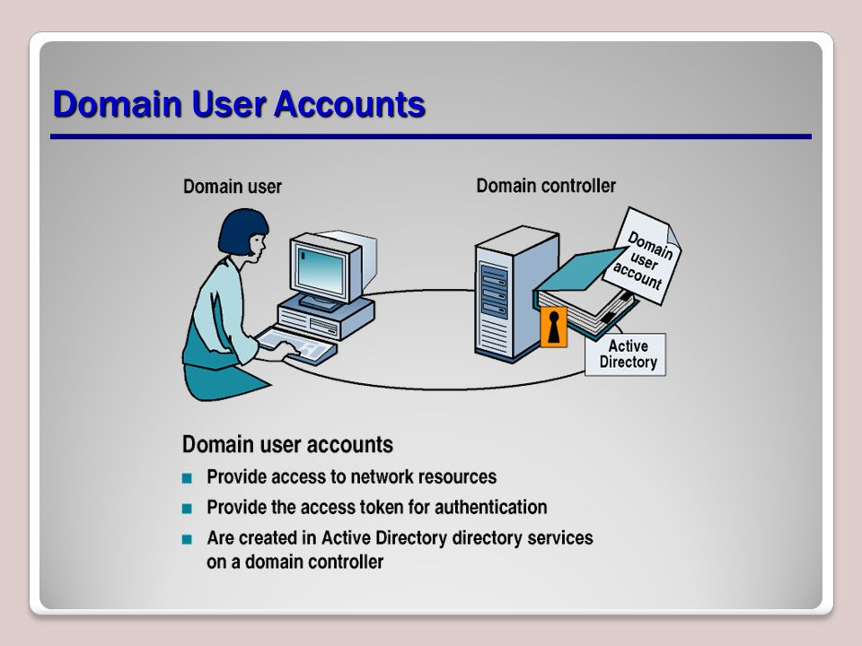 Domain User Accounts Explain how a user account works in a Domain Environment.