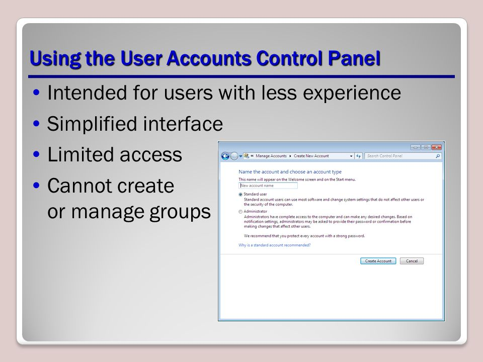 Using the User Accounts Control Panel