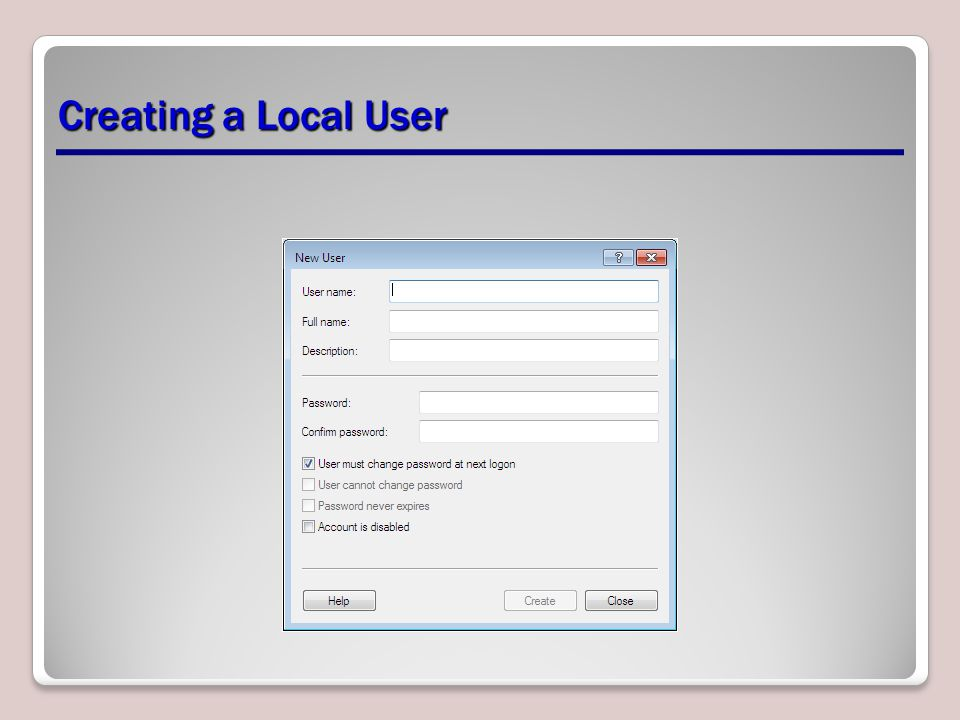 Creating a Local User