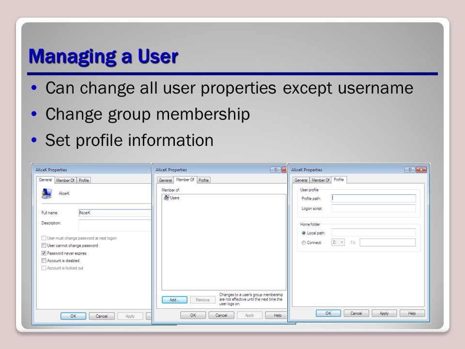 Managing a User Can change all user properties except username