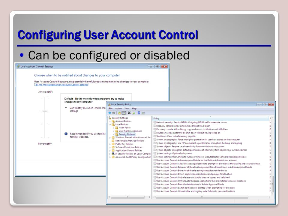 Configuring User Account Control