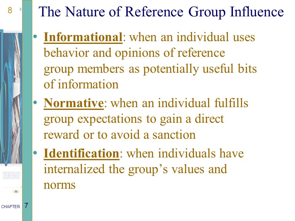 Influence of reference groups on consumer behaviour.
