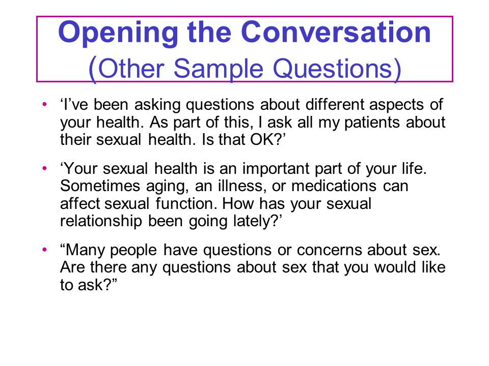 Sexual conversation questions