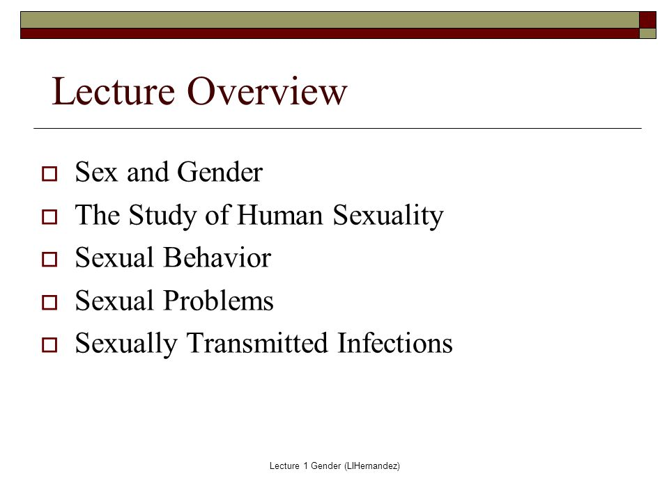 Problems related to gender and human sexuality
